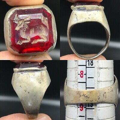 Silver Wonderful Ancient Unique Agate stone Deer Seal Ring