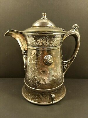 GORGEOUS 1868 Antique MERIDEN BRITTANIA Quad Plated Ster Silver WEDDING PITCHER