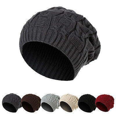 Women Ladies Men Knitted Winter Oversized Slouch Beanie Hat Cap Skateboard Hats