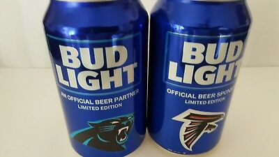 Bud Light  *  Panthers & Falcons *    2018 Kickoff  12 Oz Can Bottom Open Empty