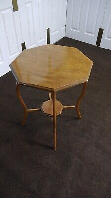 Edwardian Two Tier Octagonal Top Antique Mahogany Accent Side End Window Table