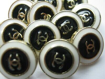 Chanel A SET OF 10 buttons  14mm tiny lot of 10 GOLD CC