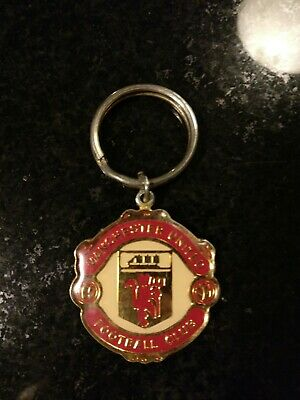 Man Manchester United Utd Fc Enamel Crest Keyring Old Badge