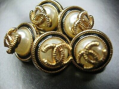 💋💋💋💋💋 Chanel 5 small buttons  11mm lot of 5 pearl black gold CC