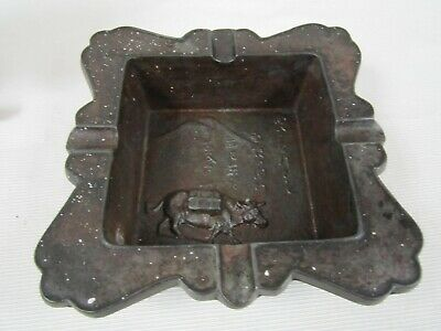 Rare Antique Circa 1900 Japanese Cast Iron Signed By Maker Ashtray Tobacco Excl.