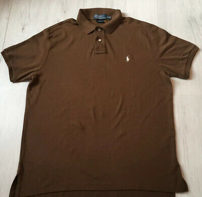 Ralph Lauren Polo Custom Fit Mens Brown Short Sleeved Polo Shirt Top Size Large