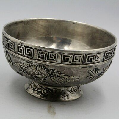Collectable China Antique Miao Silver Handwork Carving Dragon Phoenix Noble Bowl