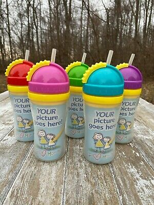 LOT of 6 Playtex Create My Own Cup Toddler Baby Sippy Straw Picture Drawing