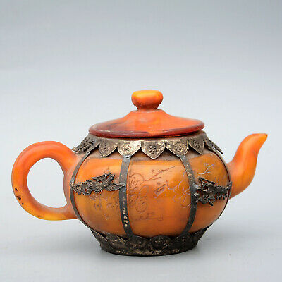 Collect China Miao Silver Hand-Carved Dragon Phoenix Delicate Rare Jade Teapot