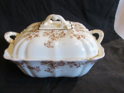 John Maddock & Sons England Brown Transfer Aesthetic Floral Covered Soup Tureen