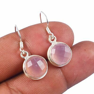 Faceted-Rose Quartz Solid 925 Sterling Silver Earring Jewelry AE-3325
