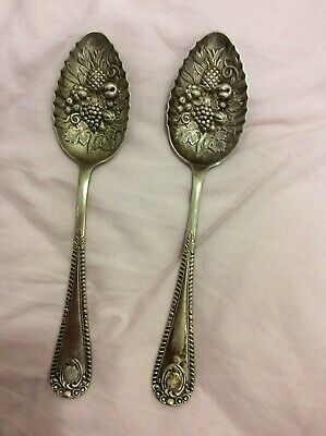 Antique C1880 Silver Plate Berry Spoon Set / Serving Spoons