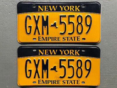 New York Empire State License Plate Pair Gxm-5589  Nice!!!  Free Shipping!!