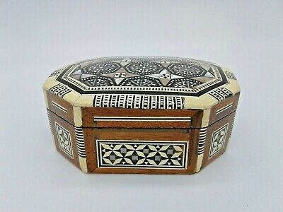 Egyptian Inlaid Mother of Pearl Jewelry Trinket Octagon Box