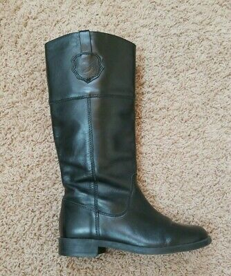 Zara Girls -  Knee High Zippered Boots - Black Leather - Size 34