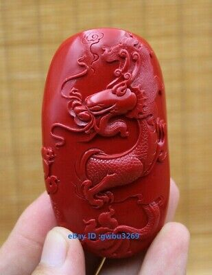 Exquisite Chinese Cinnabar Carved lucky Dragon Pendant  Evil spirit amulet