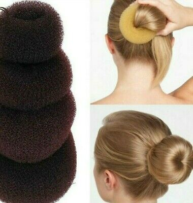 3 Pcs Hair Donut Bun Maker Ring French Roll Brown Black And