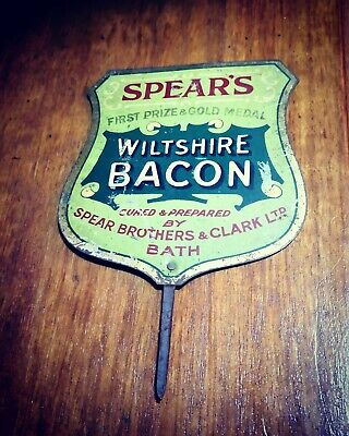 RARE early 20th Century SPEARS BACON BUTCHER SIGN