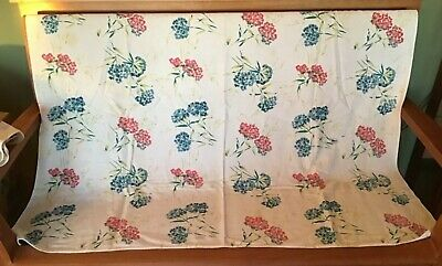 Vintage Tablecloth Printed Cotton Circa 1940s Red Blue Green Floral 50 x 45""