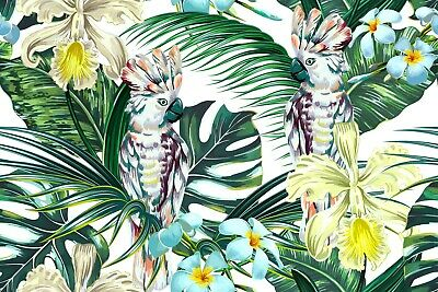 Tropical leaves and flowers pattern Australian made framed Stretched wall Canvas