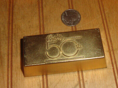 Vintage 1982 Bally's Casino Paperweight Gold Bar 50th Anniversary Paper Weight