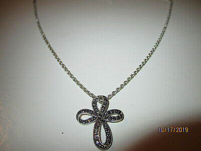 VTG Silver Plated Marcasite Rhinestone Inlaid Art Deco Cross Pendant Necklace