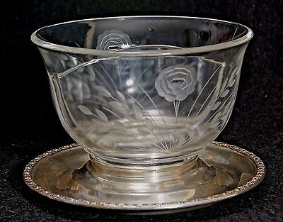 Antique Frank M. Whiting  & Co Talisman Rose Sterling Silver Glass Bowl / Plate