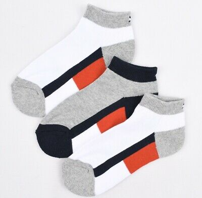 TOMMY HILFIGER Boys' Kids' 3-pack Trainer Socks, Colourblocked size 7-10 years
