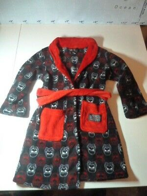 Disney STAR WARS Soft Dressing Gown Size 5-6 Years~Black with Red/White Faces