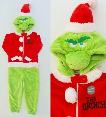 Primark Boys/Girls Unisex Dr Seuss Grinch Xmas All In One Pyjama Sleep/Loungwear