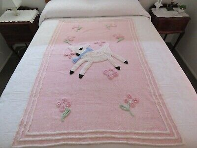 BEDCOVER /COVERLET /BABY COT COVER -VINTAGE CHENILLE -LOVELY PINK with LAMBS