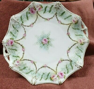 Antique 9 Inch Serving Plate Hand Painted Rs Prussia Flower Pattern