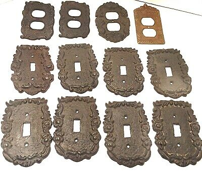 Lot Of 12 Rustic Ornate Light Switch And Outlet Cover Plates 11 Are Cast Iron