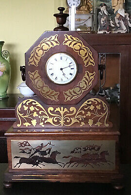"""21"""" X 14"""" X 6"""" Antique Wooden Clock With Inlayed Brass & Plaque."""