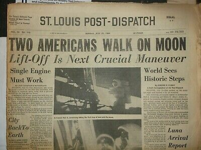 Vintage Newspaper StLOUIS July21,1969 2 AMERICANS WALK ON MOON-APOLLO 11/PresKen