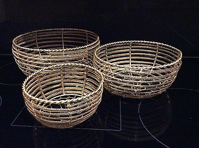 SET x 3 GOLD SWEET BASKETS/PARTY