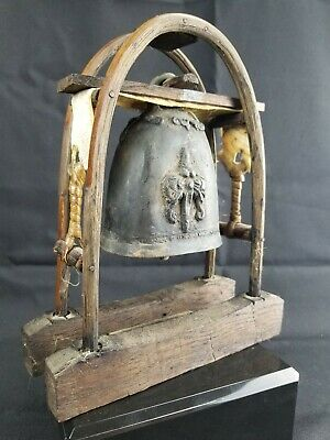 Vintage Chinese Bronze Bent Wood Bell Cowhide
