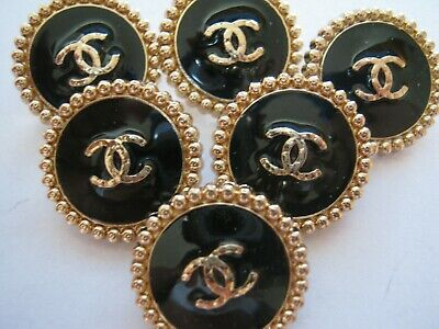 💋💋💋💋💋 Chanel  buttons  set of 6 sz 19mm lot of 6 BLACK GOLD CC
