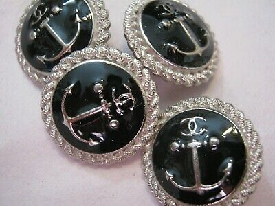 Chanel 5 cc buttons  BLACK silver ANCHER 19mm lot of 5 good condition