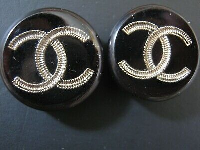 Chanel  cc buttons BLACK SILVER  17mm lot of 2 good condition