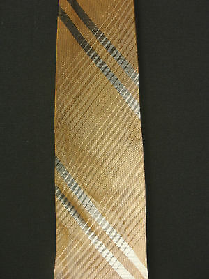 Vintage 1950'S-1960'S Silk Brown & White Striped Tie