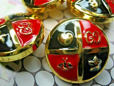 GUCCI 5 gold red black BUTTONS  20mm lot of 5 good condition