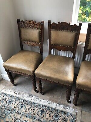 4 Beautiful Antique Victorian Carved Walnut Chairs With Padded Base, Leg Castors