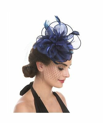 Fascinator Hat Feather Mesh Net Veil Party Hat Ascot Hats Flower Derby Hat wi...