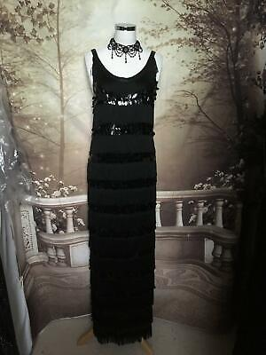 Ballgown/Dress size 12 Phase Eight Black Sequin Fringe Gatsby Maxi Flapper Deco