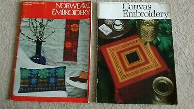 Vintage Norweave Embroidery Tapestry + Canvas Embroidery Pattern Books