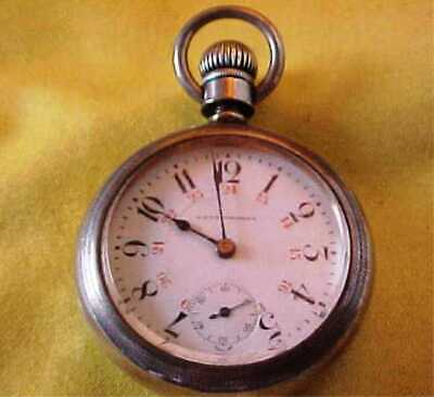 Antique Extra Large Seth Thomas Pocket Watch - 24 Hour Dial - Coin Silver Case