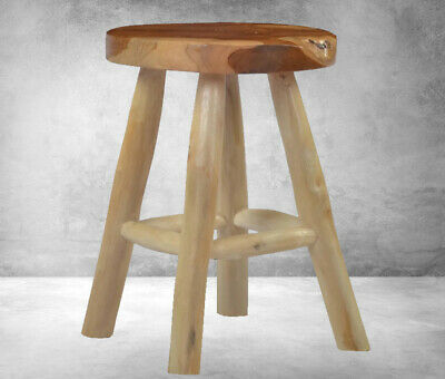 Small Vintage Stool Rustic Wooden Round Side Table Shabby Chic Style Furniture