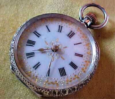 Antique Beautiful Ornate Decorative Fine Silver .935 Small Working Pocket Watch