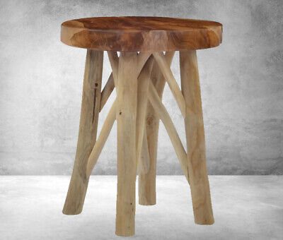 Small Vintage Stool Wooden Rustic Round Side Table Retro Furniture Shabby Chic